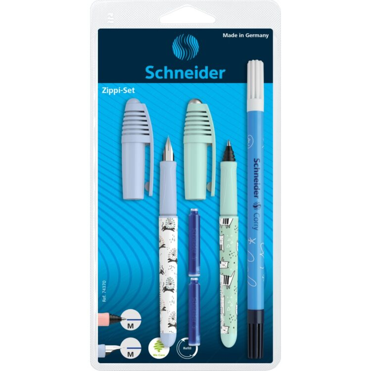 Set Stilou Roller Schneider Zippi 2020 Bleu + Vernil